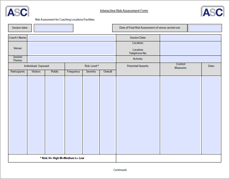 Doc941680 Risk Management Form Template risk assessment – Free Risk Assessment Template